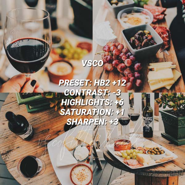 vsco filters for food 3