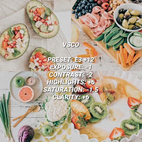 vsco filters for food 5
